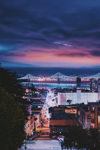iPhone Wallpaper San Francisco, city, night, bridge, buildings, cars, illumination, USA