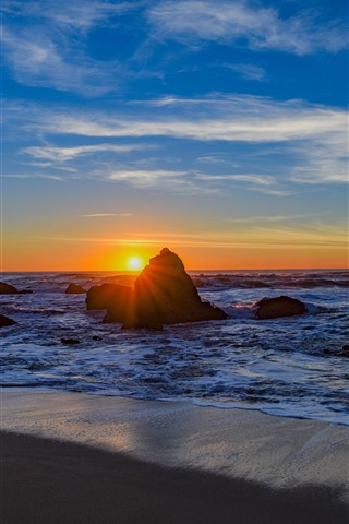 Sea Rocks Beach Waves Sunset 1242x2688 Iphone 11 Pro Xs Max Wallpaper Background Picture Image