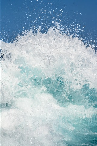 iPhone Wallpaper Sea, waves, water splash, water droplets