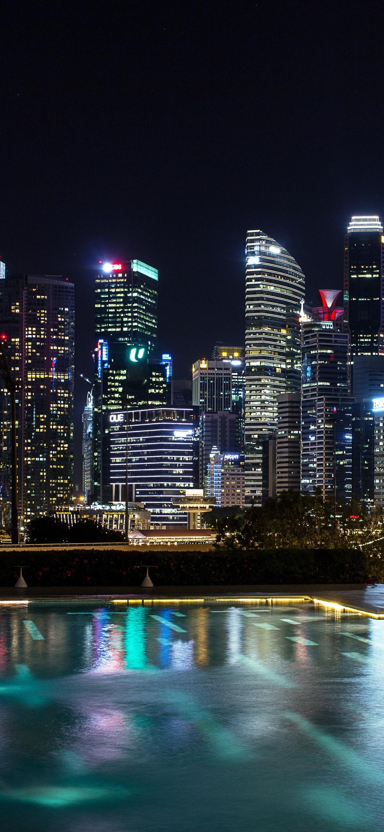 Skyscrapers City Night Lights Singapore 1242x2688 Iphone