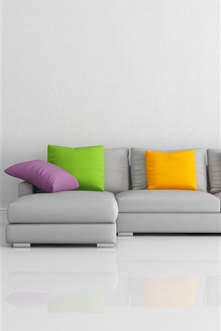 iPhone Wallpaper Sofa, pillow, gray style