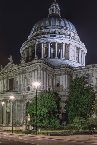 iPhone Wallpaper St. Paul's Cathedral, London, England, city night