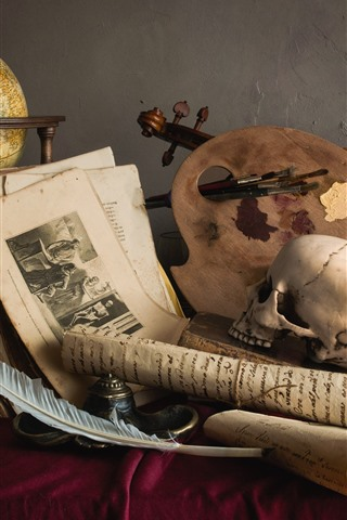 iPhone Wallpaper Still life, skull, violin, photo, candle, feather