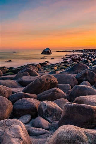 iPhone Wallpaper Stones, sea, Norway, sunset