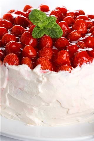 iPhone Wallpaper Strawberry cake, cream, mint leaves