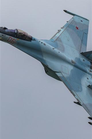 iPhone Wallpaper Su-35S multipurpose fighter flight