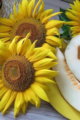 iPhone Wallpaper Sunflowers, melon, plum