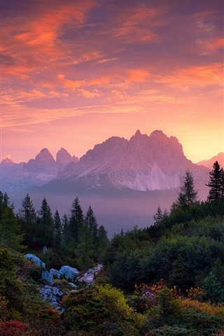 Sunset Mountains Trees Red Sky Clouds 640x1136 Iphone 5 5s 5c