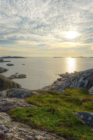 iPhone Wallpaper Sweden, sea, coast, rocks, clouds, sunset