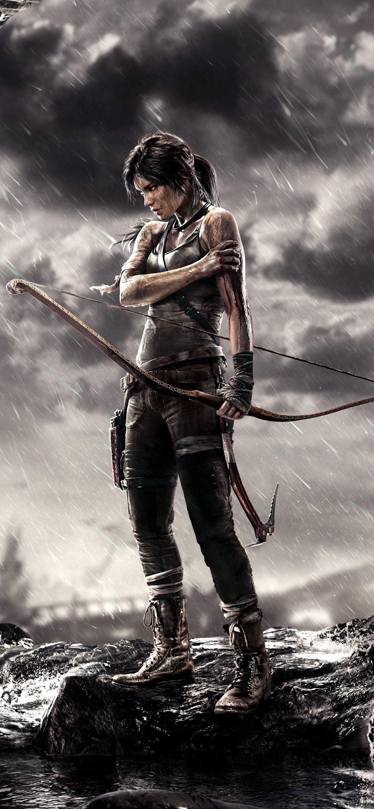 Tomb Raider Lara Croft Bow Rainy 1242x2688 Iphone 11 Pro Xs Max