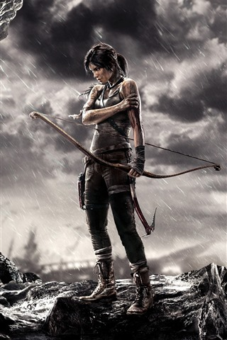 iPhone Wallpaper Tomb Raider, Lara Croft, bow, rainy