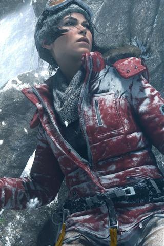 iPhone Wallpaper Tomb Raider, Lara Croft, glasses, jacket, snow