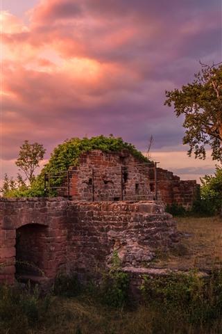 iPhone Wallpaper Trees, ruins, clouds, dusk