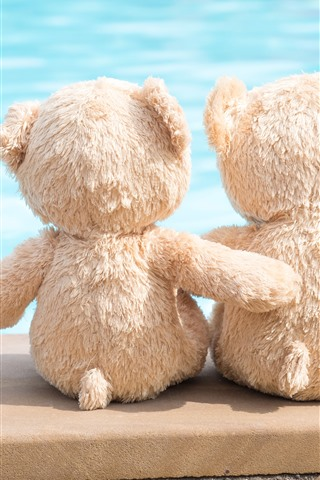 iPhone Wallpaper Two teddy bears, toy, friends