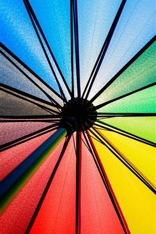 iPhone Wallpaper Umbrella, colorful fabric, rainbow colors