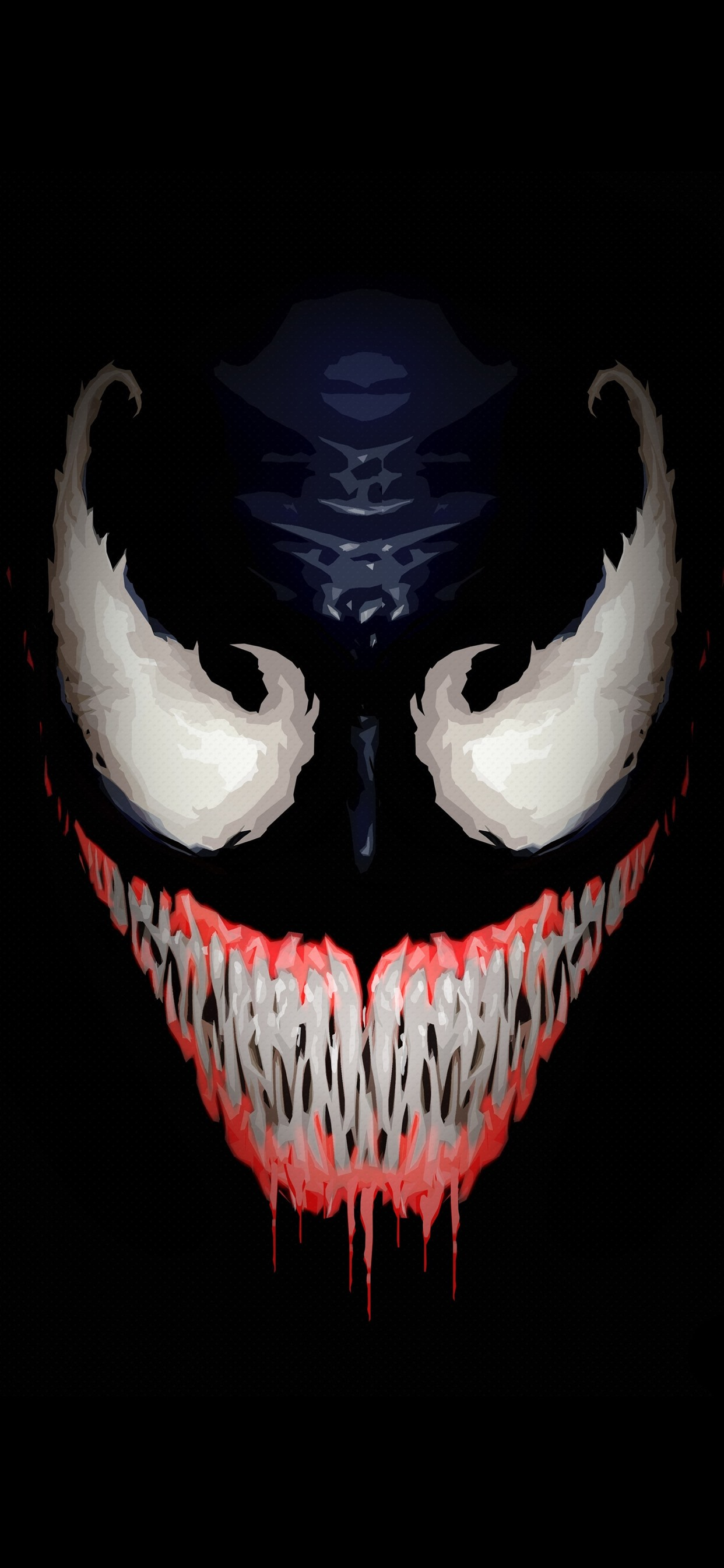 Wallpaper Venom Face Teeth Black Background Art Picture