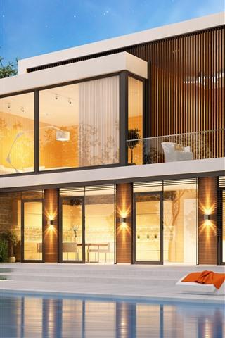 iPhone Wallpaper Villa, pool, 3D design