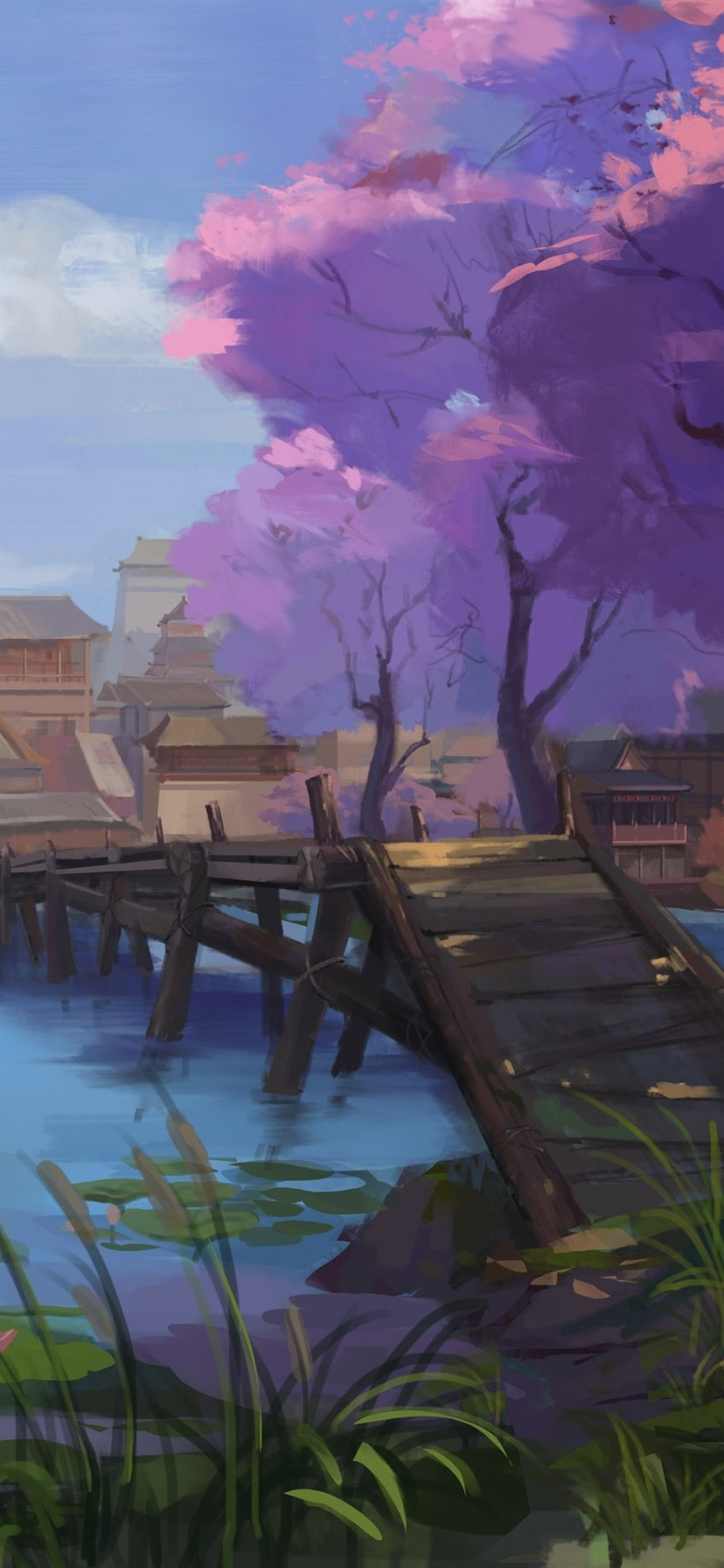Watercolor Painting China Village Retro Style 828x1792 Iphone 11 Xr Wallpaper Background Picture Image