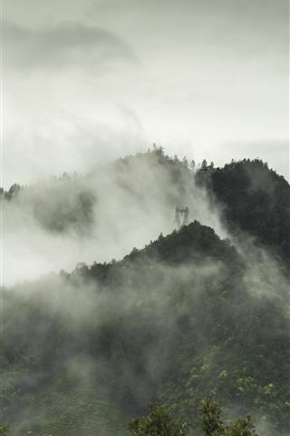 iPhone Wallpaper Yanshan, mountains, fog, morning, autumn, China