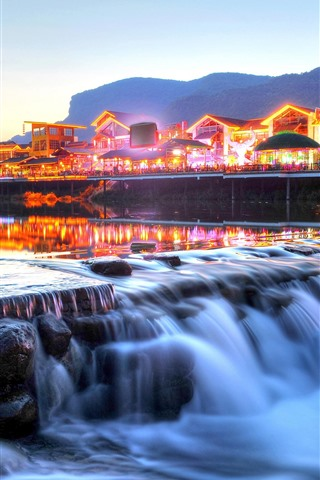 iPhone Wallpaper Zhangjiajie, China, river, houses, lights, dusk