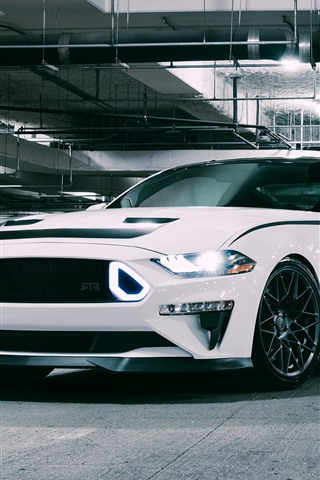 iPhone Wallpaper 2018 Ford Mustang RTR white supercar