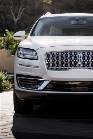 iPhone Wallpaper 2019 Lincoln Nautilus white SUV car front view