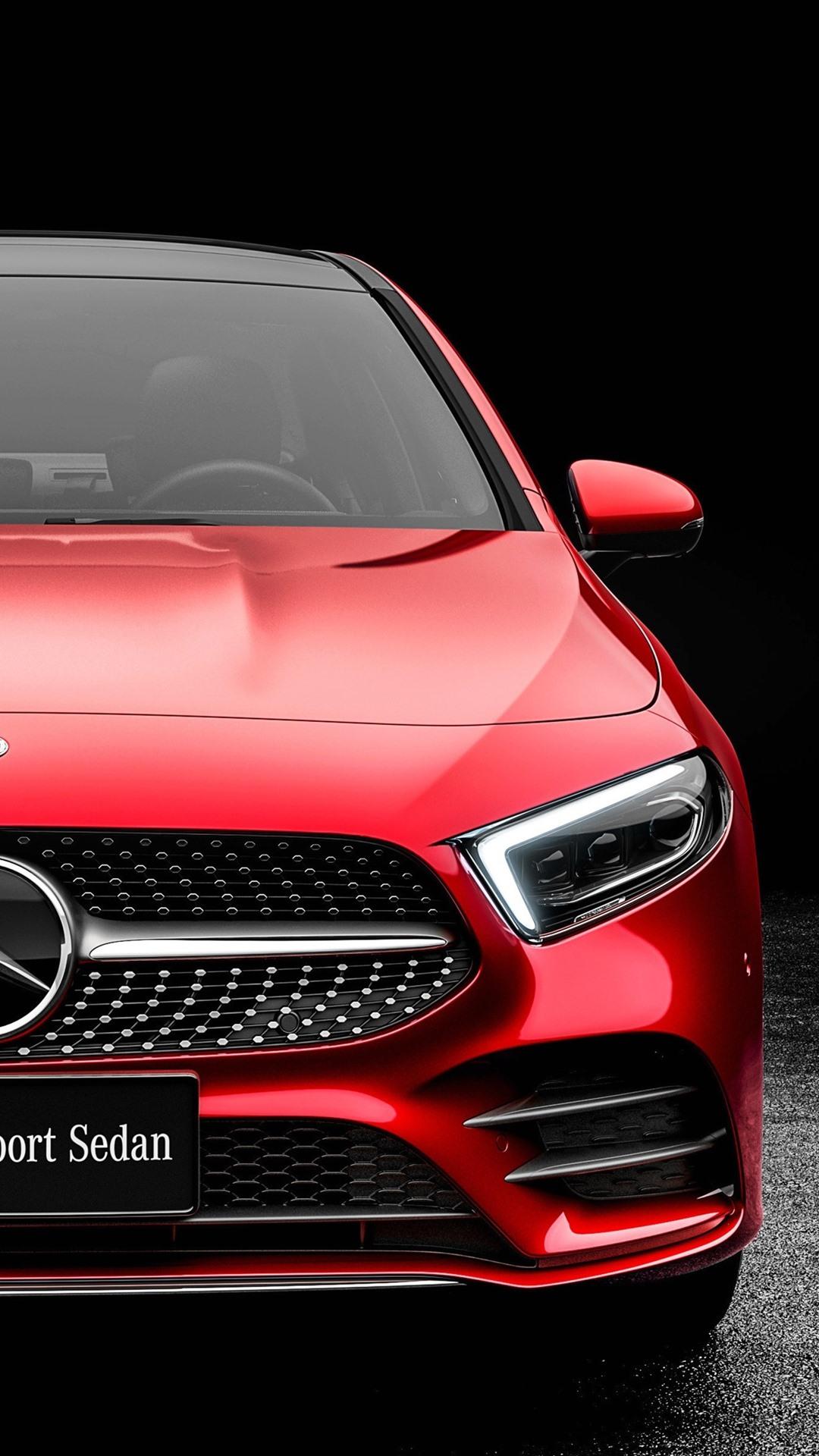 Fonds D Ecran Vue De Face De La Voiture Rouge 2019 Mercedes