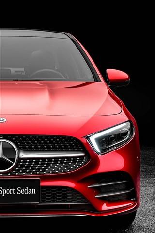 iPhone Fondos de pantalla Vista delantera del automóvil rojo Mercedes-Benz A-Class A200 2019