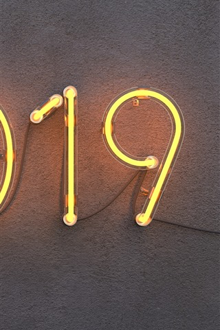 iPhone Wallpaper 2019 New Year, neon, wall