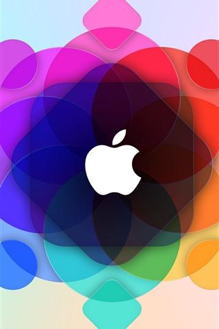 iPhone Papéis de Parede Apple, círculos coloridos fundo