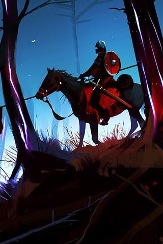 iPhone Fondos de pantalla Cuadro de arte, bosque, caballo, guerrero, jinete