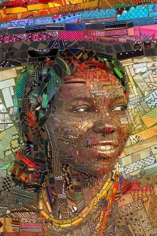 iPhone Fondos de pantalla Cuadro del arte, mosaico, África, muchacha, libro