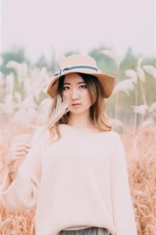 iPhone Fondos de pantalla Chica asiática, sombrero, cañas, otoño