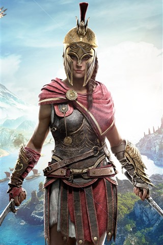 iPhone Wallpaper Assassin's Creed: Odyssey, beautiful girl