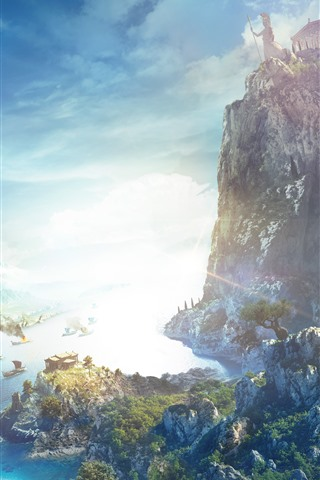 iPhone Wallpaper Assassin's Creed: Odyssey, sea, boats, mountains, eagle, sunshine