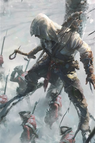 iPhone Wallpaper Assassin's Creed, Ubisoft, soldiers, tree, winter
