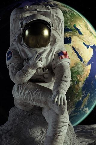 iPhone Fondos de pantalla Astronauta, tierra, luna, espacio