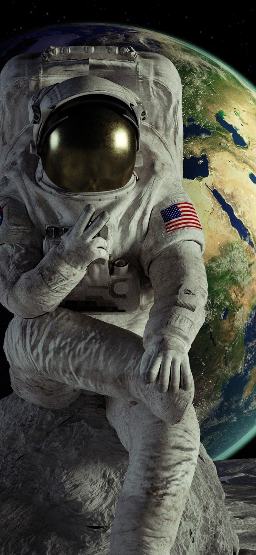 Astronaut Earth moon