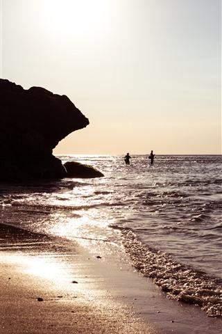 iPhone Wallpaper Bali, Indonesia, sea, waves, sunshine, rocks