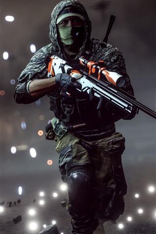 iPhone Wallpaper Battlefield 4, soldier, run, sniper