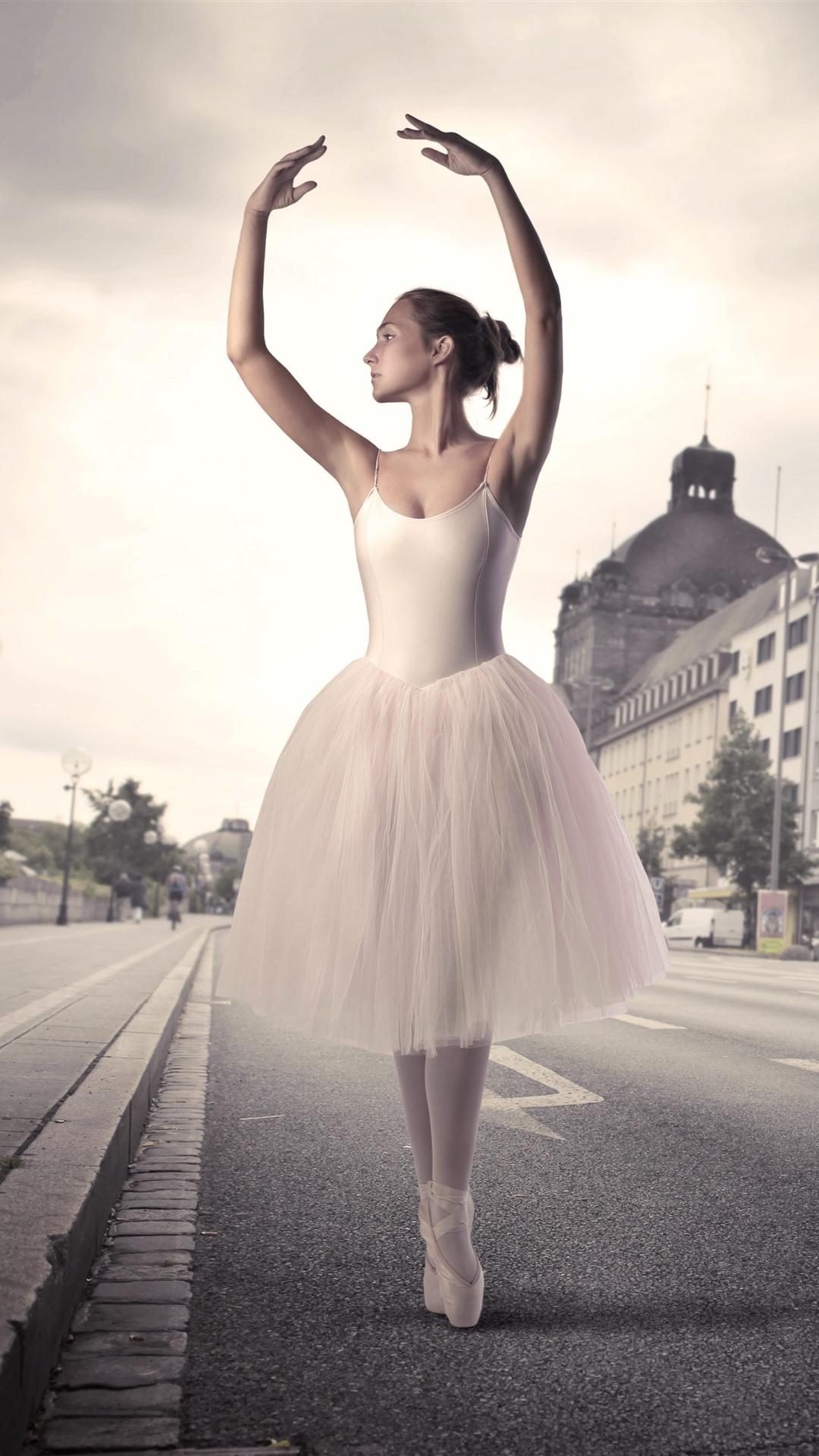 Wallpaper Beautiful Ballerina Girl Dance Street City 5120x2880 Uhd 5k Picture Image