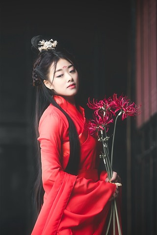 iPhone Wallpaper Beautiful ancient style girl, red dress, long hair, flowers