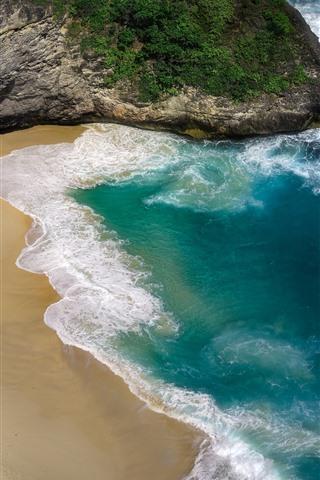 iPhone Fondos de pantalla Hermosa playa, mar, olas, Nusa Penida.