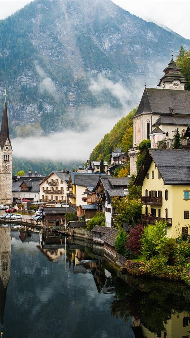 美しい村 湖 山 霧 ハルシュタット オーストリア 640x1136 Iphone 5 5s 5c Se 壁紙 背景 画像
