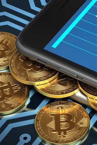 iPhone Fondos de pantalla Bitcoin, moneda, dinero digital.