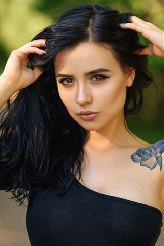 iPhone Wallpaper Black hair girl, brown eyes, tattoo