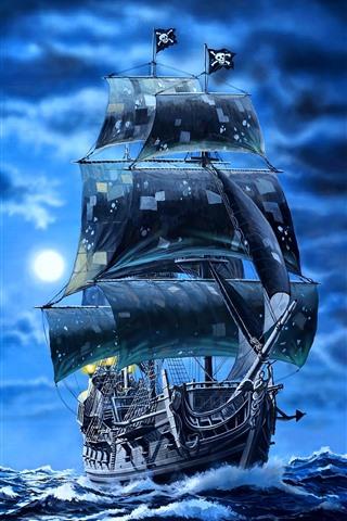 iPhone Fondos de pantalla Velero de perlas negras, piratas, mar, imagen artística