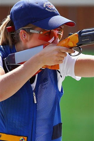 iPhone Wallpaper Blonde girl, shooting, rifle, sport