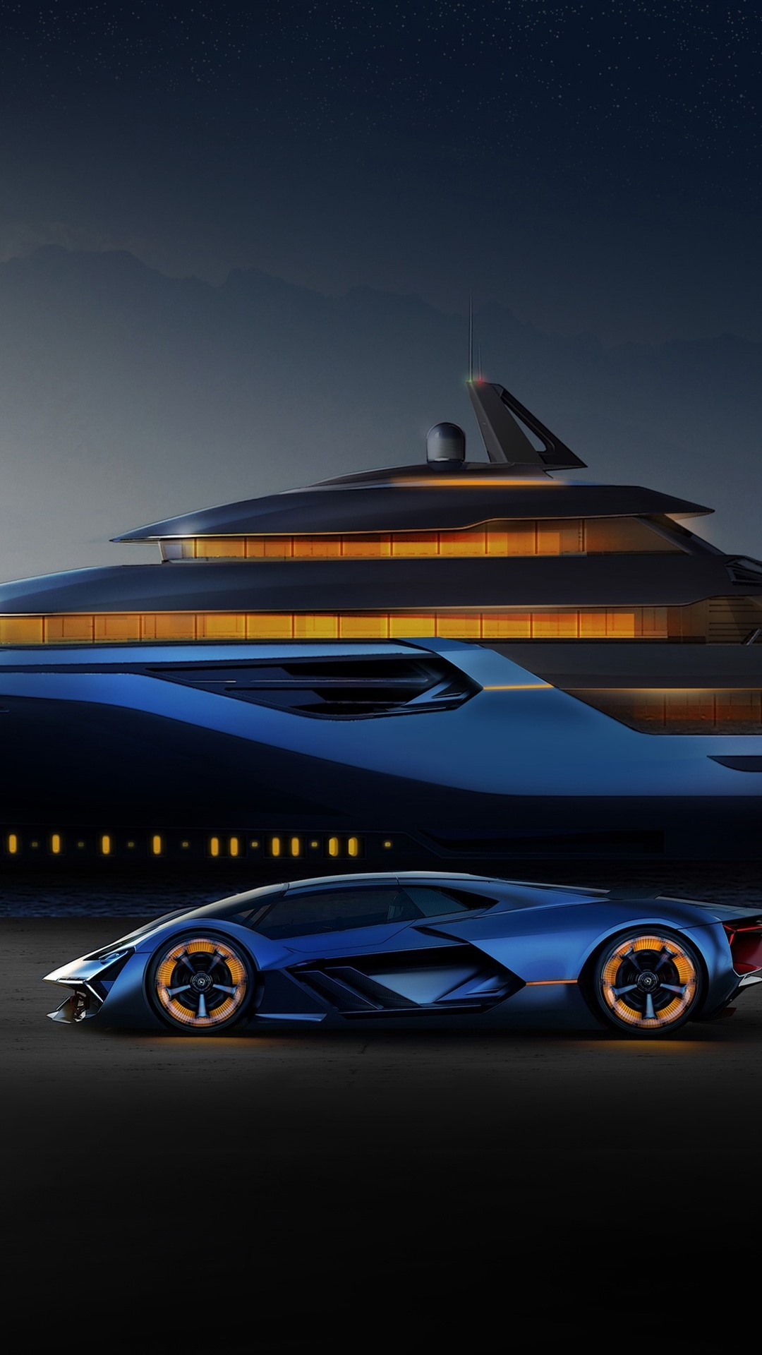 Blue Lamborghini Yacht Helicopter 1080x1920 Iphone 8 7 6 6s Plus