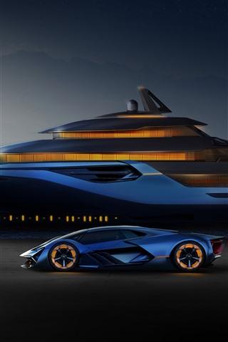 iPhone Fondos de pantalla Lamborghini azul, yate, helicóptero